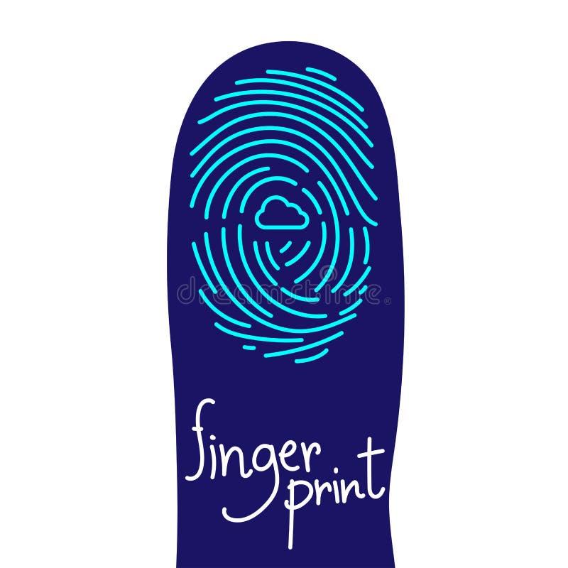 Развертка отпечатка пальцев на силуэте пальца установила с символом значка облака иллюстрация вектора
