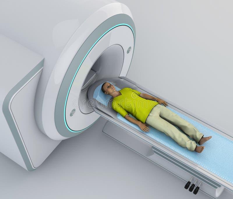 Развертка CT, развертка компьютерной томографии Молодой пациент лежащ вниз готовый для компьютеризированной осевой томографии иллюстрация вектора
