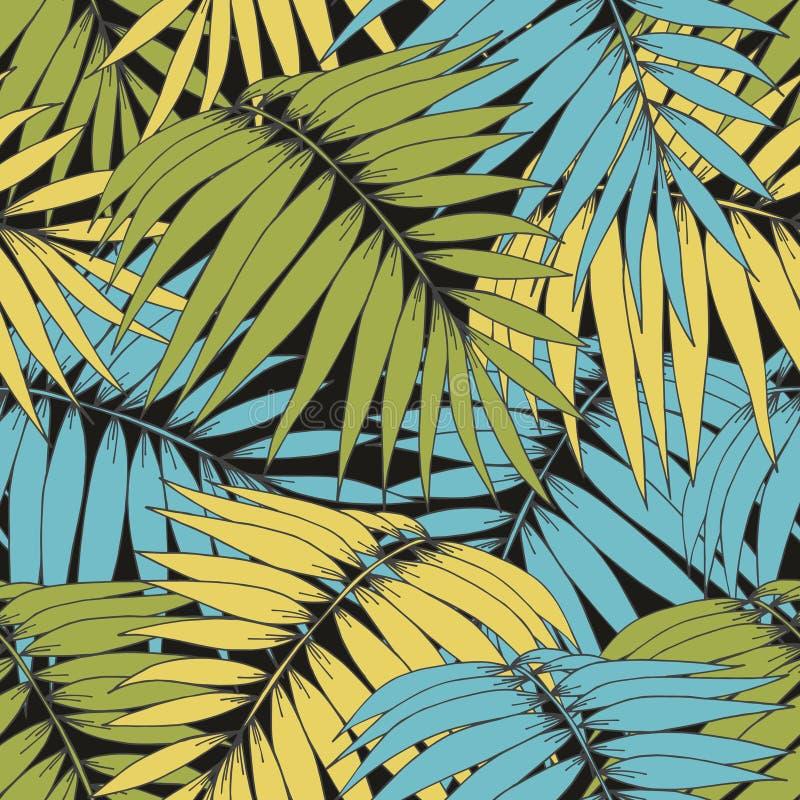 разветвляет тропическо Картина вектора безшовная для дизайна бесплатная иллюстрация