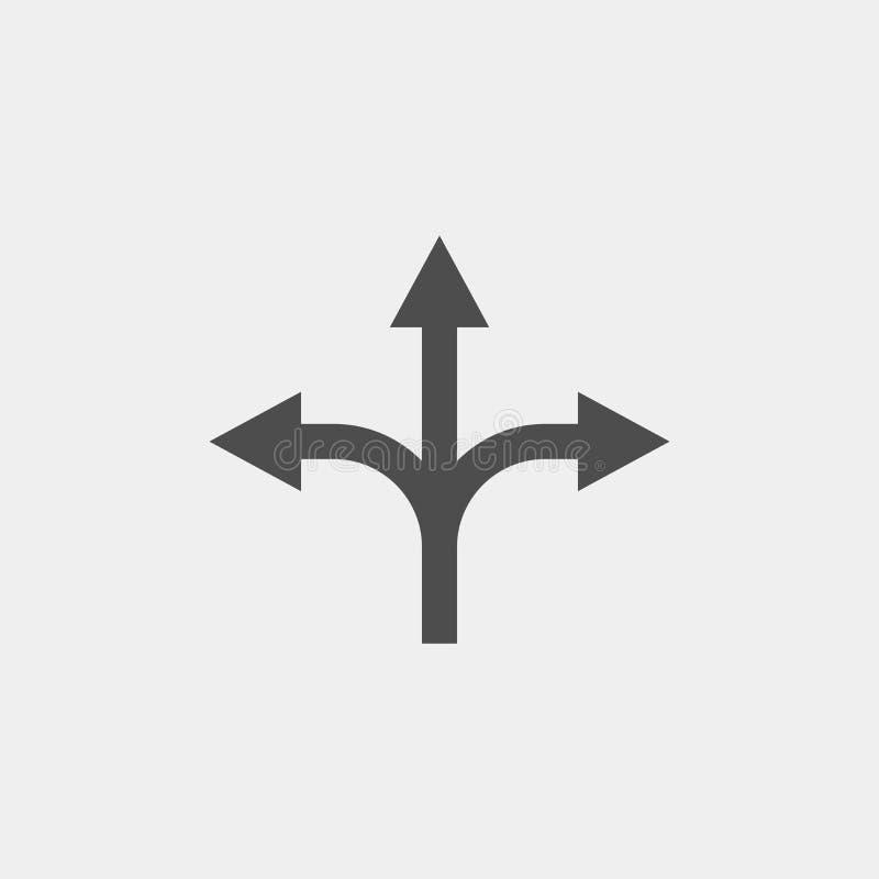 Разветвляя значок вектора стрелки плоский Стрелка утраивает плоский значок вектора бесплатная иллюстрация