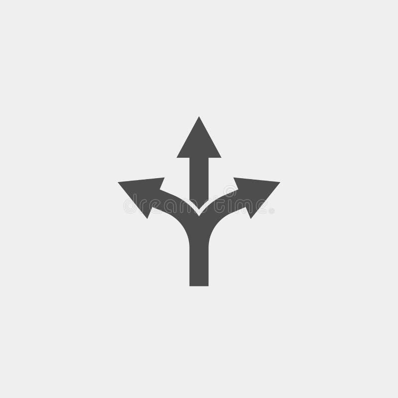 Разветвляя значок вектора стрелки плоский Стрелка утраивает плоский значок вектора иллюстрация штока