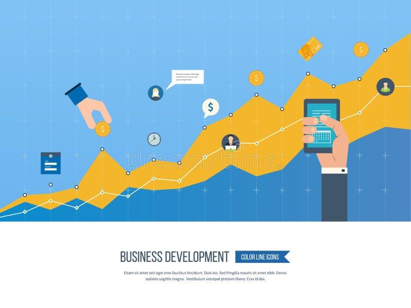 Развитие бизнеса Стратегия успешного развития биснеса иллюстрация вектора