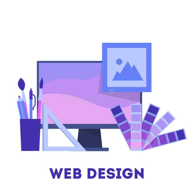 Конструктивная схема веб-дизайна Развитие вебсайта, программируя и делая отзывчивый иллюстрация штока