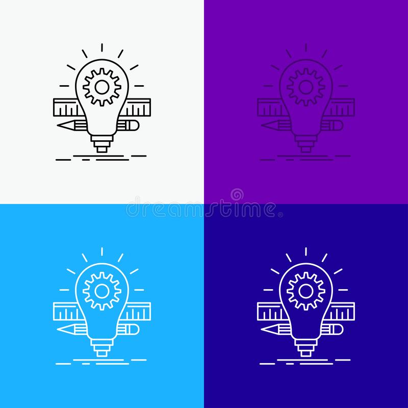 Развитие, идея, шарик, карандаш, значок масштаба над различной предпосылкой r r иллюстрация штока