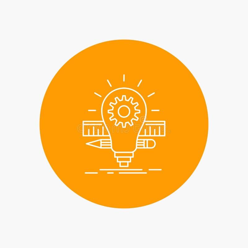Развитие, идея, шарик, карандаш, линия значок масштаба белая в предпосылке круга r иллюстрация вектора
