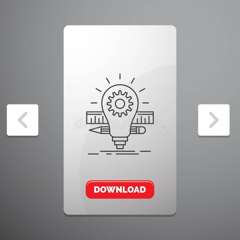 Развитие, идея, шарик, карандаш, линия значок масштаба в дизайне слайдера пагинаций Carousal & красная кнопка загрузки бесплатная иллюстрация