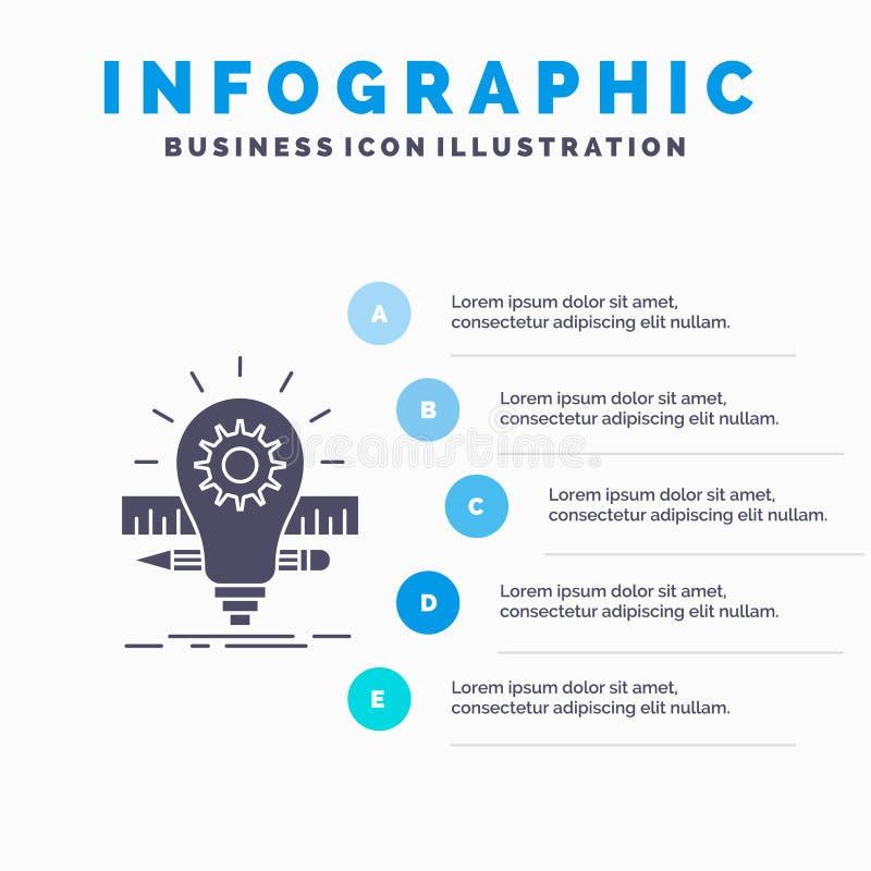 Развитие, идея, шарик, карандаш, шаблон Infographics масштаба для вебсайта и представление r иллюстрация вектора
