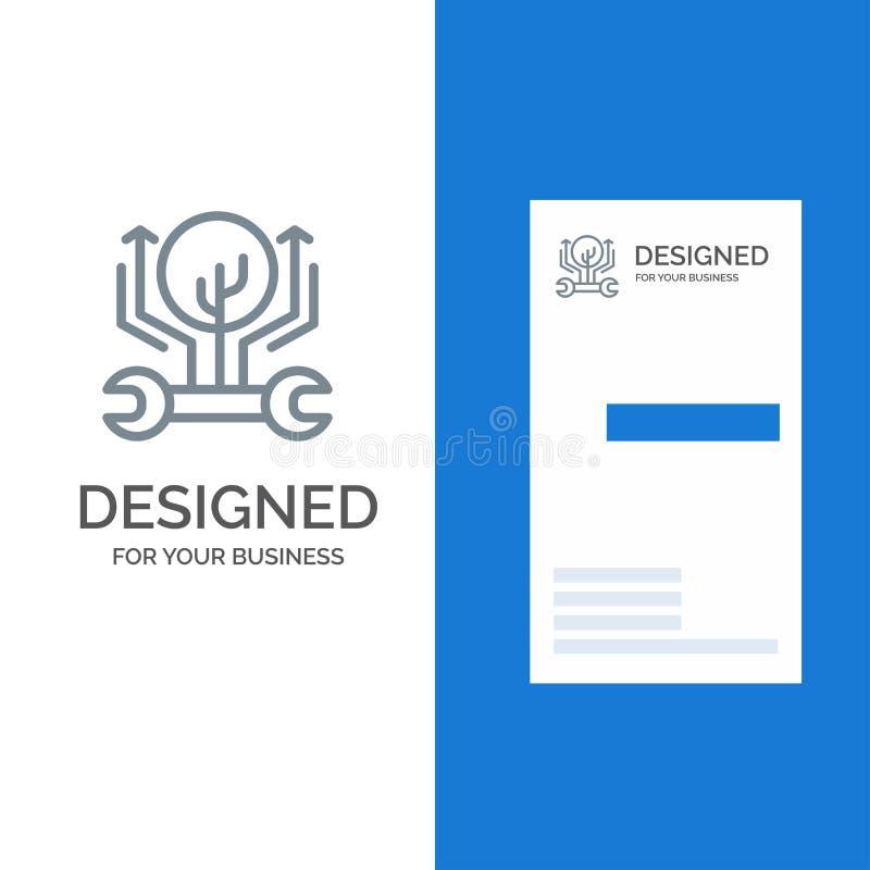 Развитие, инженерство, рост, мотыга, рубящ серые дизайн логотипа и шаблон визитной карточки иллюстрация вектора