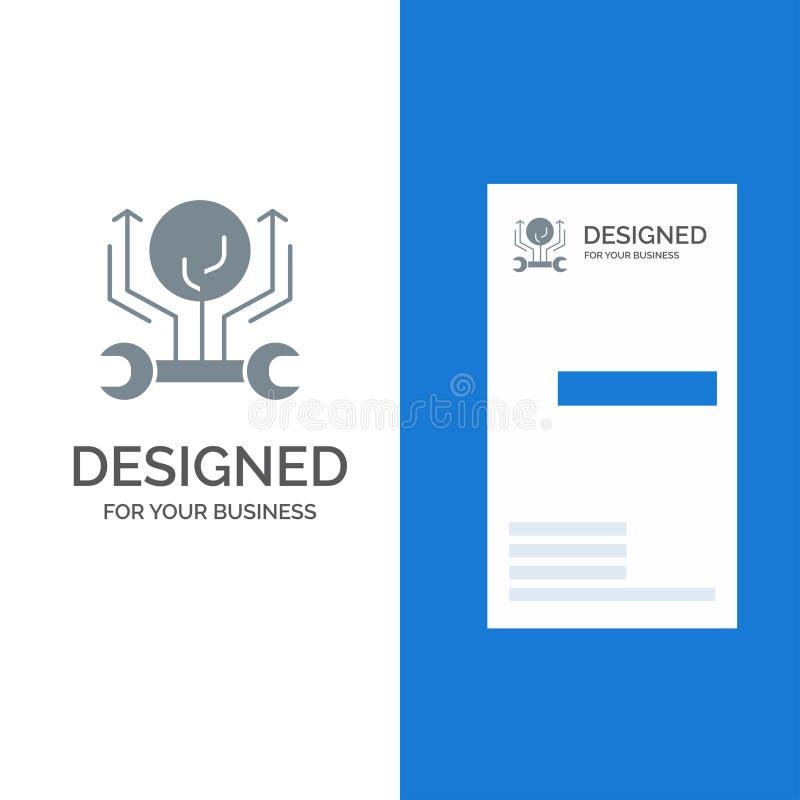 Развитие, инженерство, рост, мотыга, рубящ серые дизайн логотипа и шаблон визитной карточки иллюстрация штока