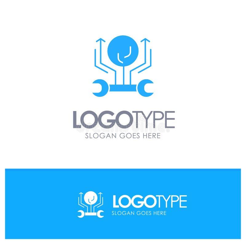 Развитие, инженерство, рост, мотыга, рубя голубой твердый логотип с местом для слогана иллюстрация штока