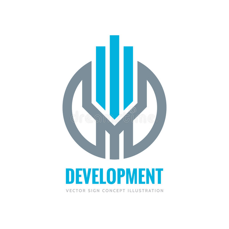 Развитие - иллюстрация концепции шаблона логотипа вектора Вертикальные нашивки в круге Знак недвижимости абстрактный вектор изобр иллюстрация штока