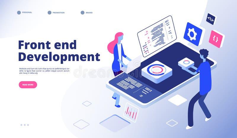 Развитие начала Программист начинает графики интерфейса вебсайта компьютера первоначальные проектируя программируя посадку иллюстрация вектора
