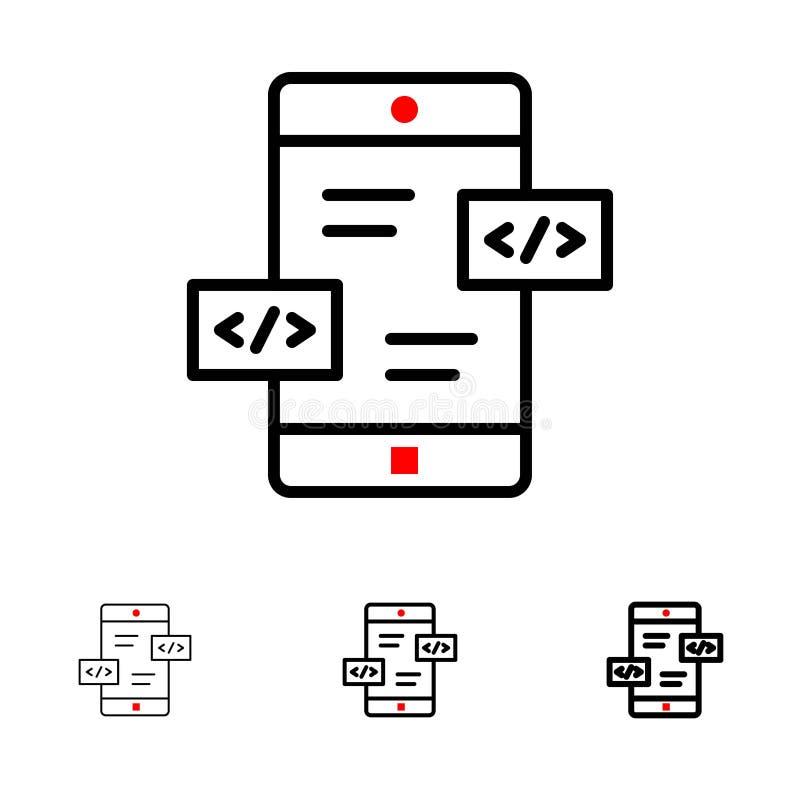 Развитие приложения, стрелки, Div, мобильная смелая и тонкая черная линия набор значка иллюстрация вектора