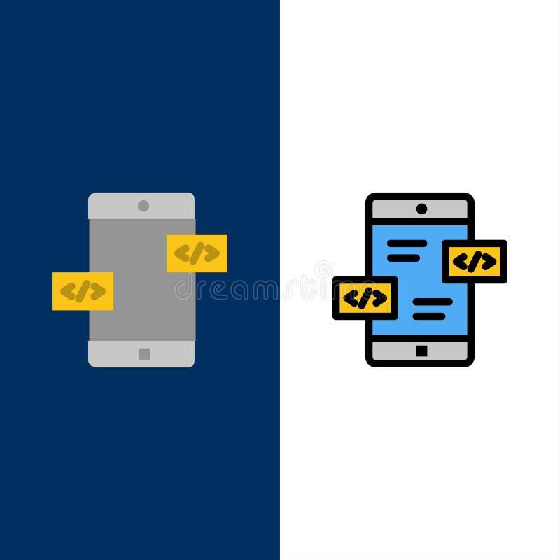 Развитие приложения, стрелки, Div, мобильные значки Квартира и линия заполненный значок установили предпосылку вектора голубую бесплатная иллюстрация