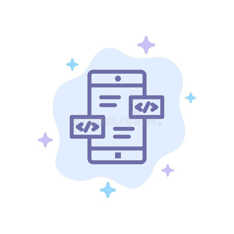 Развитие приложения, стрелки, Div, мобильный голубой значок на абстрактной предпосылке облака иллюстрация вектора