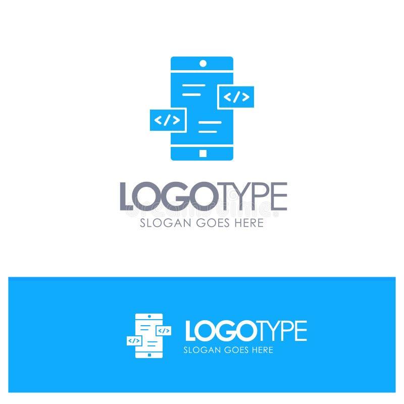 Развитие приложения, стрелки, Div, мобильный голубой твердый логотип с местом для слогана бесплатная иллюстрация