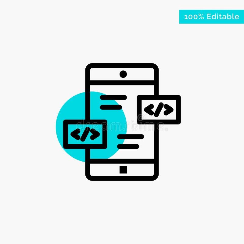 Развитие приложения, стрелки, Div, мобильный значок вектора пункта круга самого интересного бирюзы иллюстрация штока