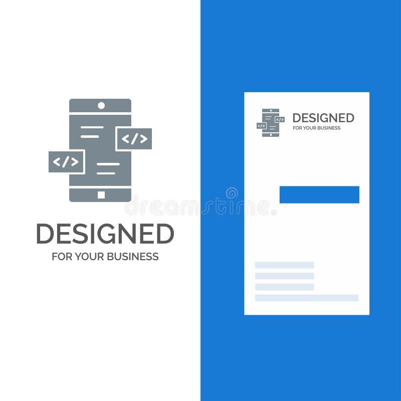 Развитие приложения, стрелки, Div, мобильный серый дизайн логотипа и шаблон визитной карточки иллюстрация штока