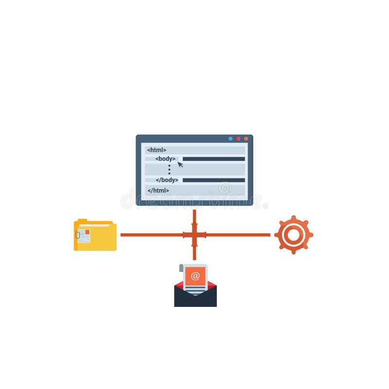 Развитие программируя, кодирвоание сети и приложения, языки программирования, плоская концепция иллюстрации r - иллюстрация вектора
