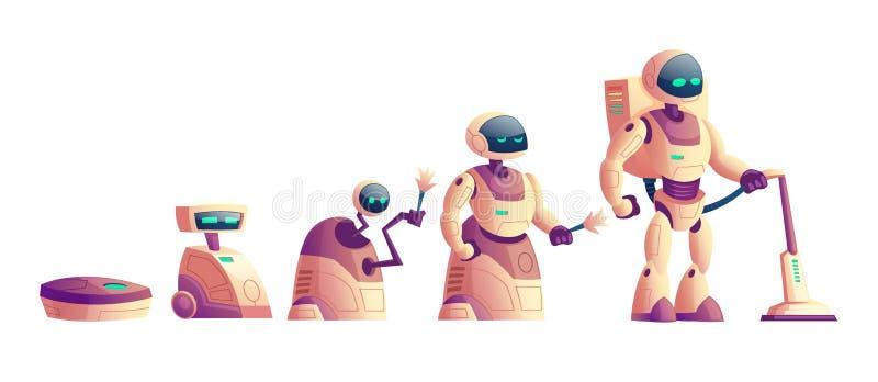 Развитие роботов, концепция вектора пылесоса иллюстрация штока