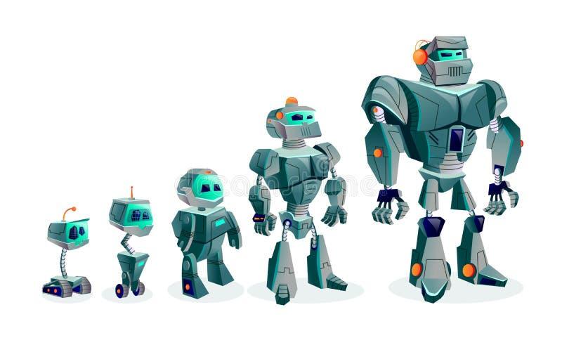 Развитие роботов, технологический прогресс иллюстрация вектора