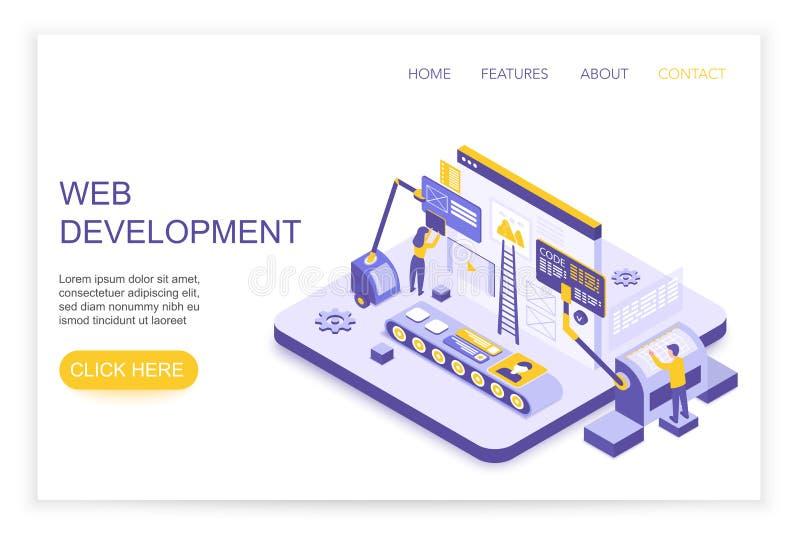 Развитие сети и infographics дизайна Настольный вебсайт и мобильная концепция вебсайта с посадкой людей 3d равновеликой бесплатная иллюстрация