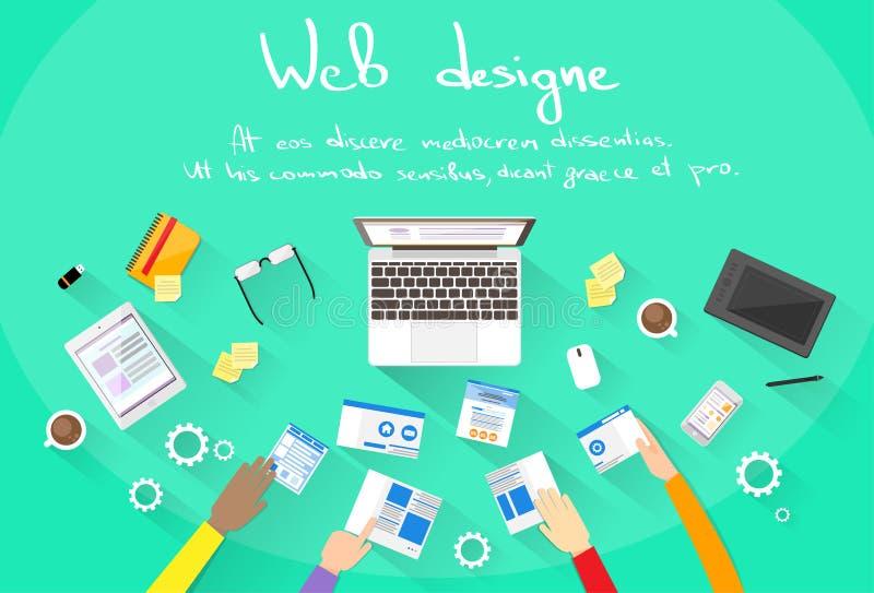 Развитие сети создает команду здания места дизайна иллюстрация вектора