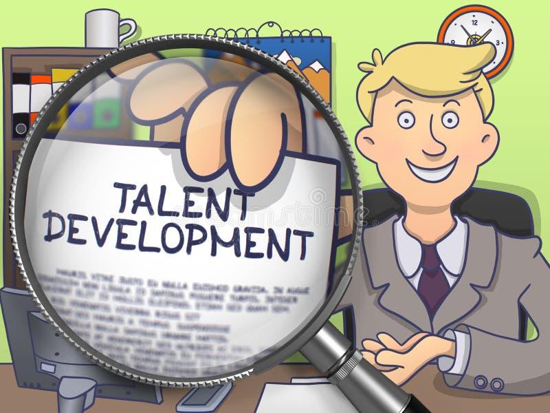 Развитие таланта через лупу Дизайн Doodle иллюстрация вектора