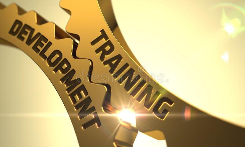Развитие тренировки на золотых шестернях 3d стоковое изображение