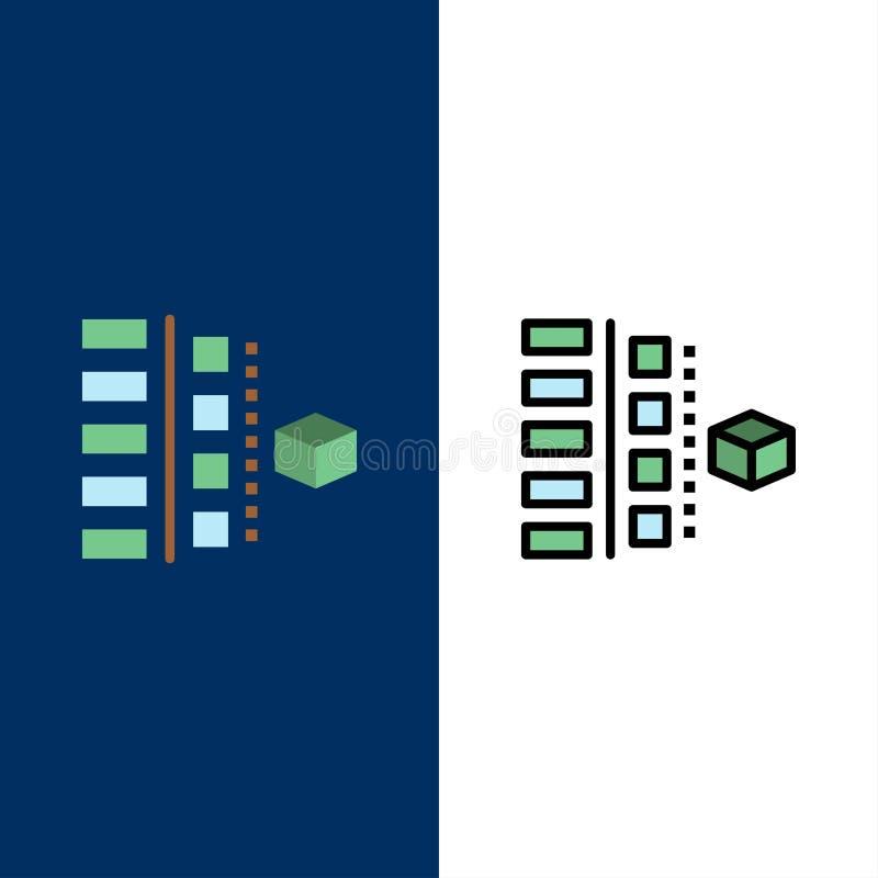 Развитие, участки, план, планирование, значки продукта Квартира и линия заполненный значок установили предпосылку вектора голубую иллюстрация вектора