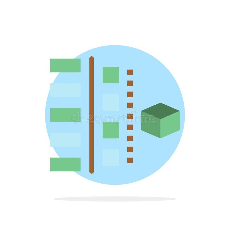 Развитие, участки, план, планирование, значок цвета предпосылки круга конспекта продукта плоский иллюстрация вектора