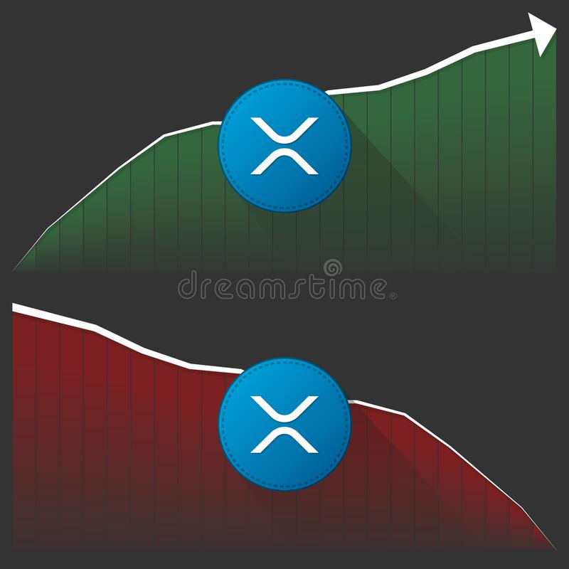 Развитие цены cryptocurrency ` s XRP пульсации стоковое фото rf