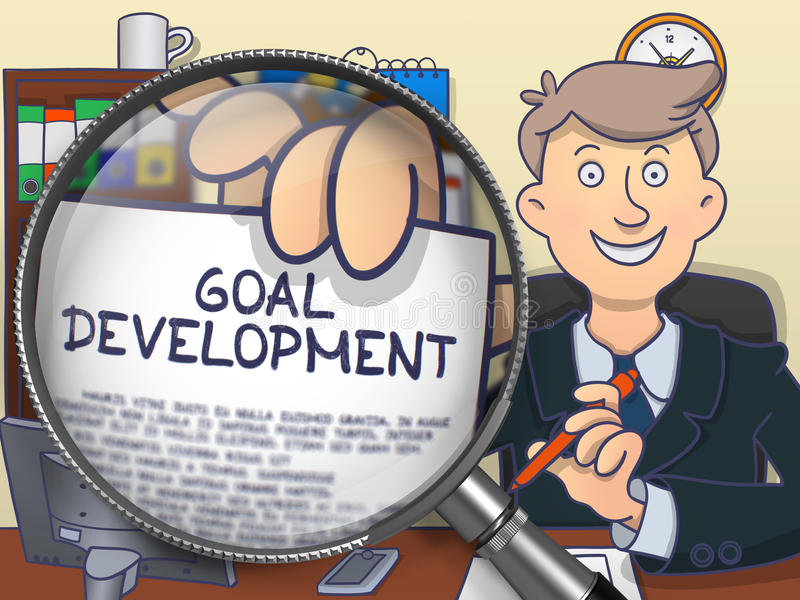 Развитие цели через лупу Дизайн Doodle иллюстрация штока
