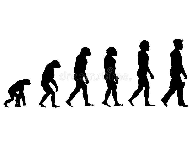 Развитие человека прогресса силуэта иллюстрация вектора