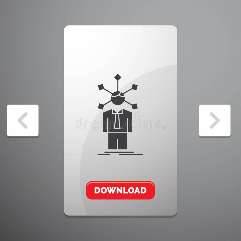 развитие, человеческий, сеть, личность, значок глифа собственной личности в дизайне слайдера пагинаций Carousal & красная кнопка  бесплатная иллюстрация