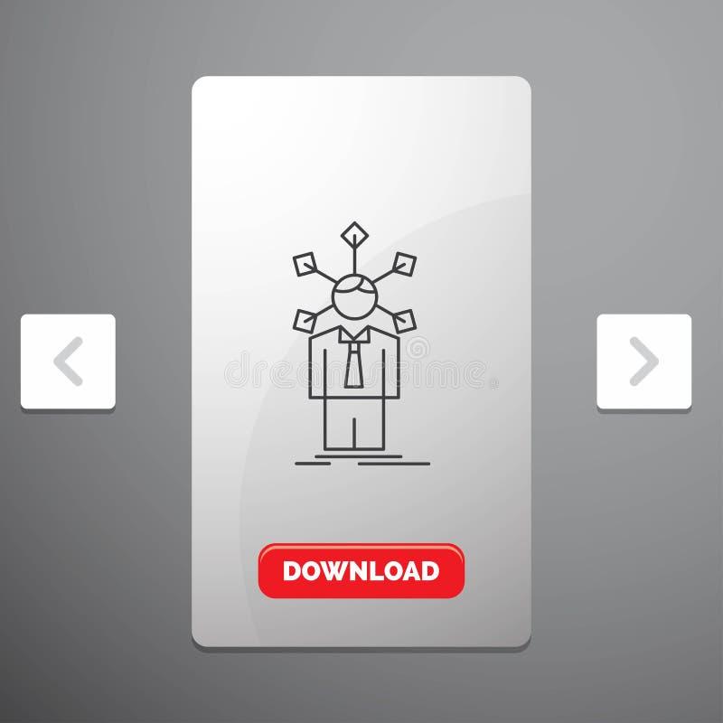 развитие, человеческий, сеть, личность, линия значок собственной личности в дизайне слайдера пагинаций Carousal & красная кнопка  бесплатная иллюстрация