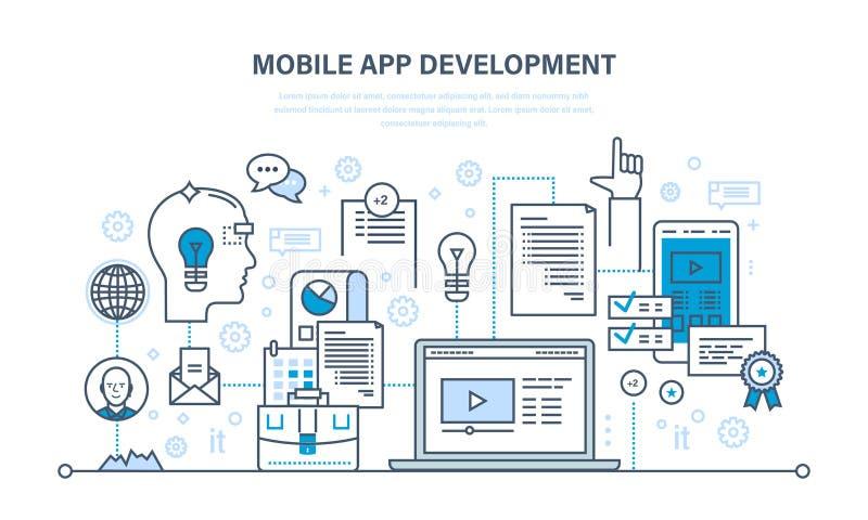 Развитие app программирования, кодировать онлайн, курсов сети, дизайна, черни и настольного компьютера иллюстрация вектора