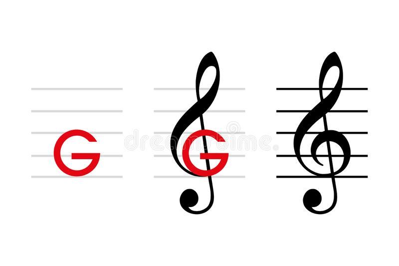 развитие G-ключа и дискантового ключа иллюстрация вектора
