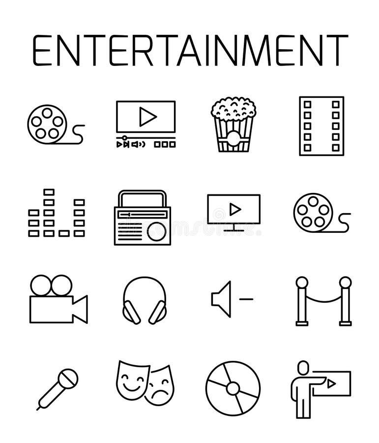 Развлечения связали комплект значка вектора бесплатная иллюстрация