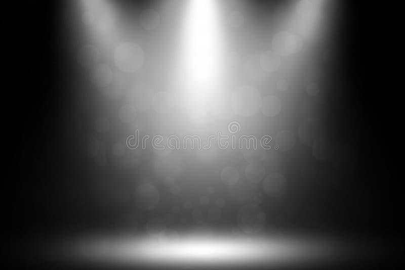 Развлечения студии дыма bokeh 3 фар белые иллюстрация вектора
