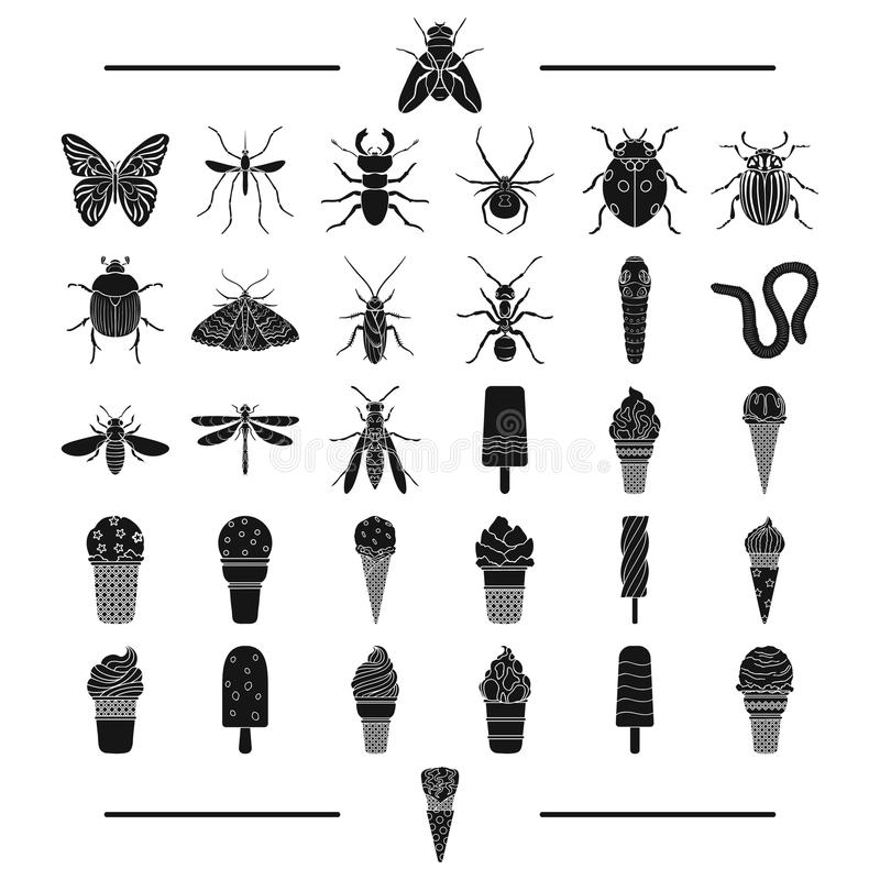 Развлечения, насекомые, природа и другой значок сети в черном стиле заполнитель, десерт, сладость, значки в собрании комплекта иллюстрация вектора