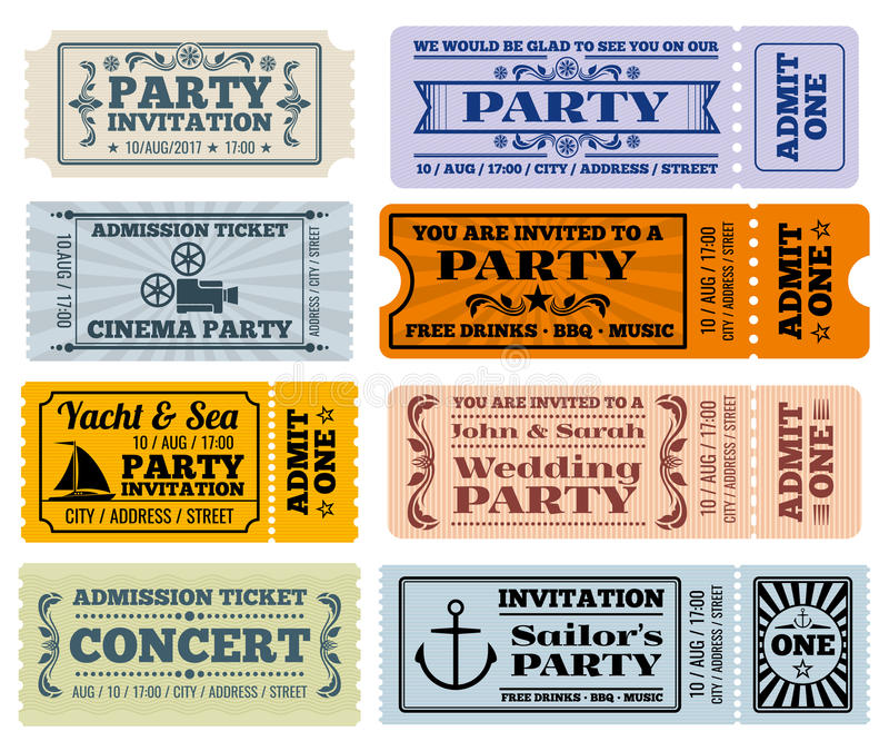 Развлечения, партия и кино vector шаблоны талонов билетов года сбора винограда иллюстрация вектора
