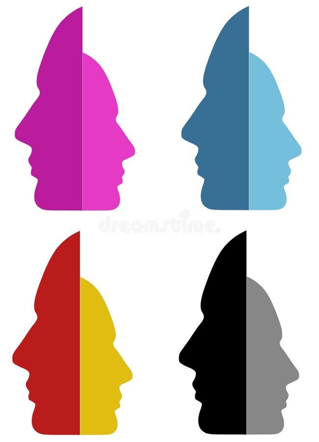 разделенные личности сторон иллюстрация штока