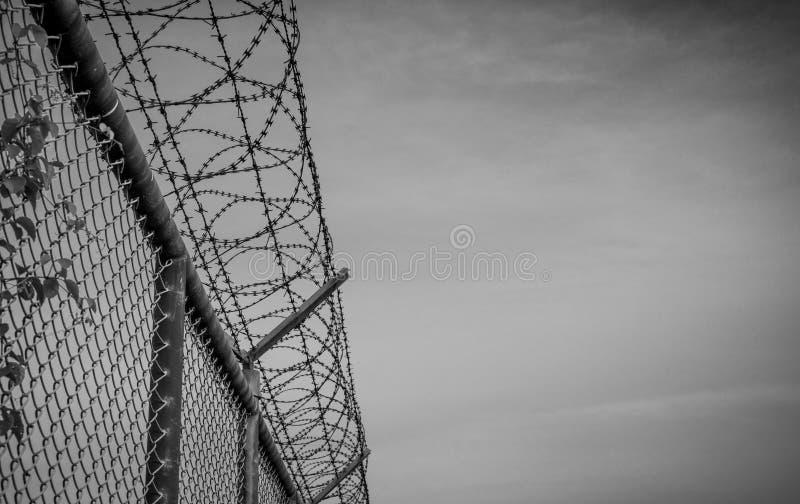 Разделительная стена тюрьмы Разделительная стена колючей проволоки Загородка тюрьмы провода бритвы Граница барьера Стена безопасн стоковые изображения