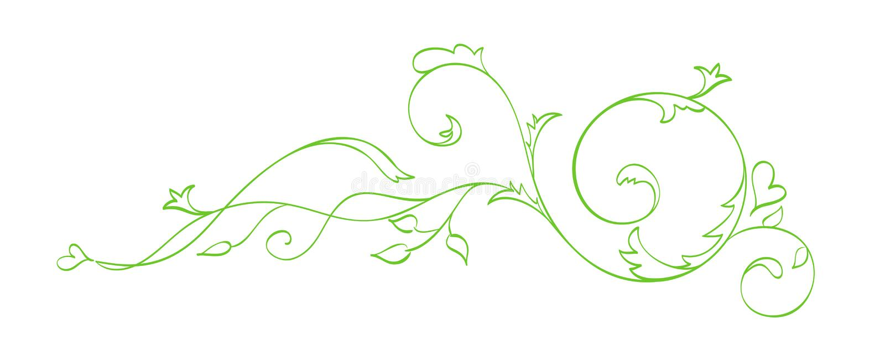 Разделитель зеленой руки вектора вычерченный каллиграфический Элемент дизайна эффектной демонстрации весны Флористическое светлое бесплатная иллюстрация