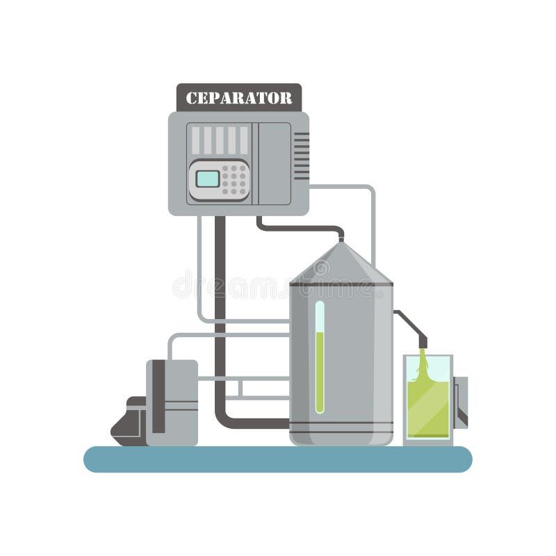 Разделитель, оборудование для иллюстрации вектора продукции оливкового масла на белой предпосылке иллюстрация вектора
