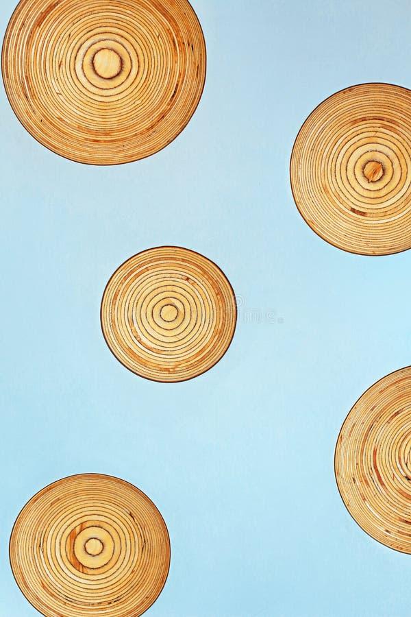 Разделы стволов дерева на предпосылке цвета стоковая фотография