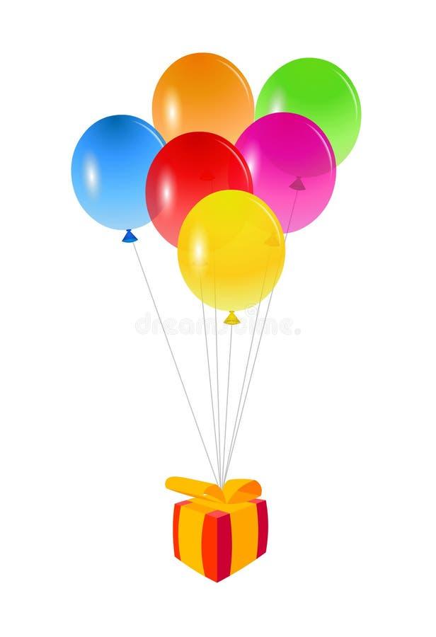 раздувает подарок на день рождения иллюстрация вектора