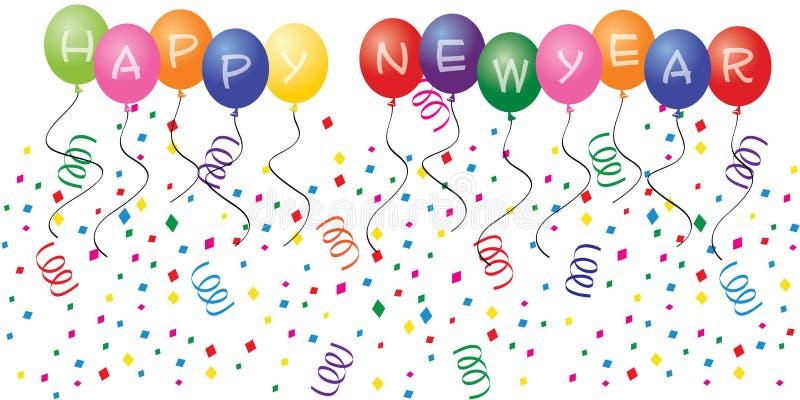 раздувает счастливое Новый Год иллюстрация штока