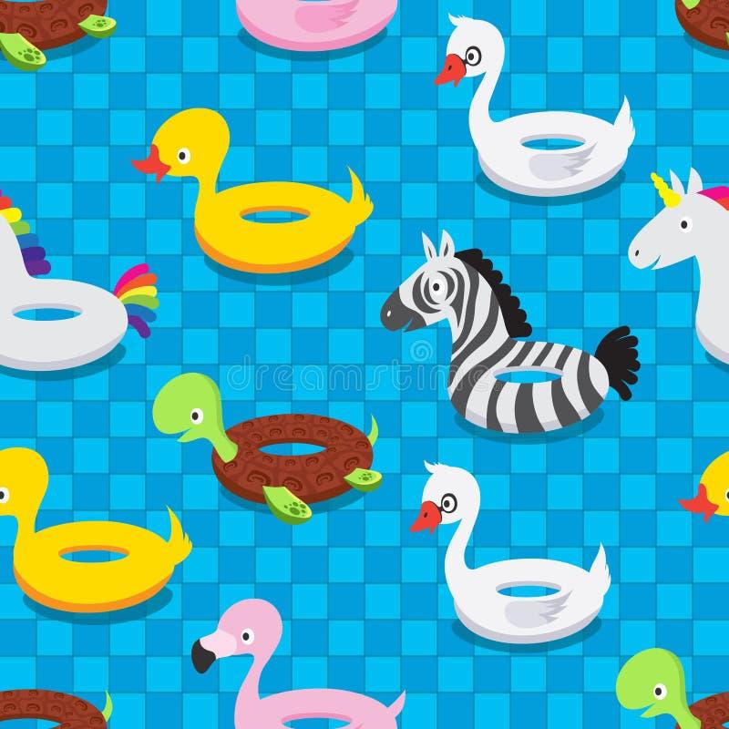 Раздувные животные игрушки резины в бассейне Поплавок заплыва звенит картина вектора лета безшовная иллюстрация вектора